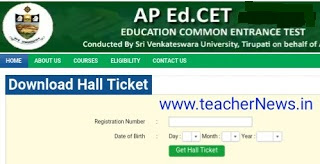 AP Ed.CET Hall Tickets 2019 | AP B.Ed Admission Test Hall tickets 2019