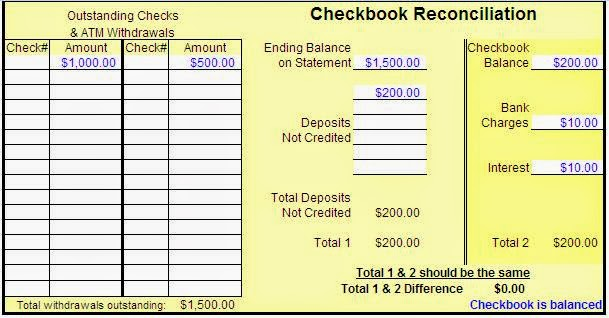 balance checkbook worksheet excel