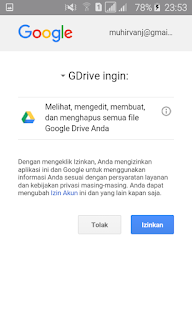 Halaman izin google drive