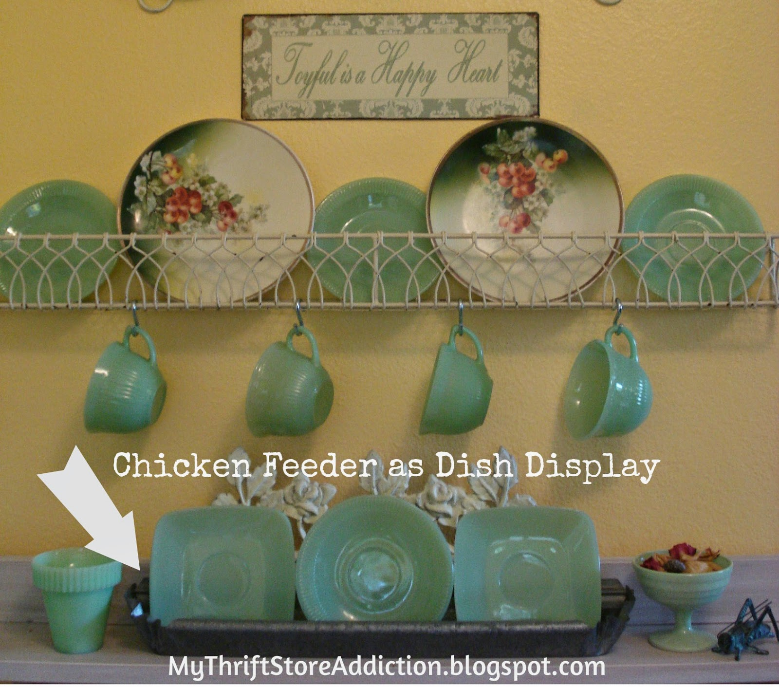 Chicken feeder epurposed for dish display