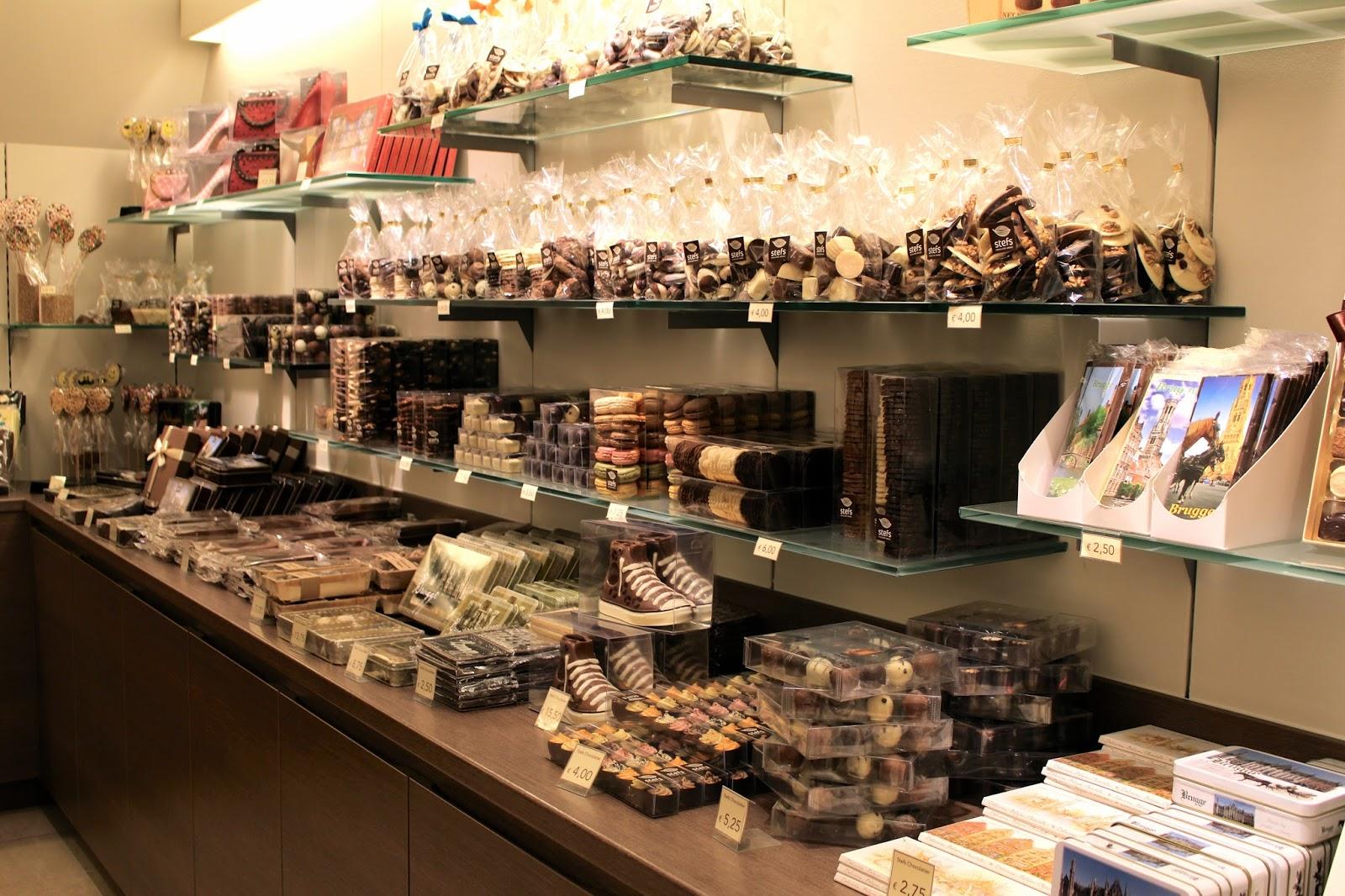 Bruges Stefs Chocolatier inside the shop