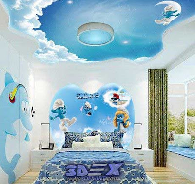 3d ceiling for kids room, 3d ceiling clouds mural for kids false ceiling