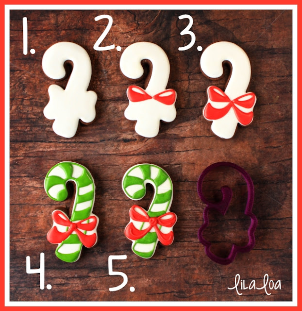 Decorated sugar cookie tutorial with video - decorated candy cane cookies with a bow