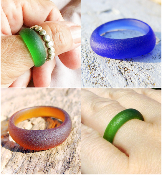 Round Seaglass Rings Genuine Sea Glass Jewelry