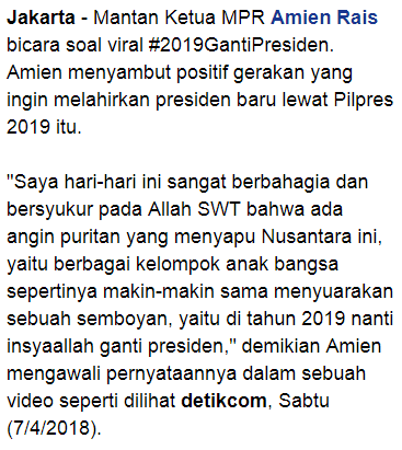 Bicara 2019gantipresiden Amien Rais Minta Jokowi Bersikap Gentle Saat Bersaing Kabar Hari Ini