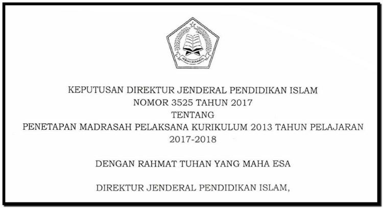 Sk Dirjen Pendis Dan Lampiran Daftar Madrasah Penyelenggara Kk 2013 Wawasan Pendidikan Nusantara