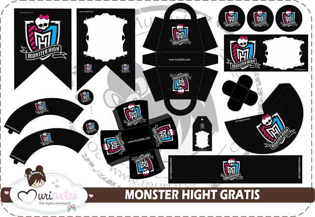 Kit de Monster High en Negro para Imprimir Gratis.