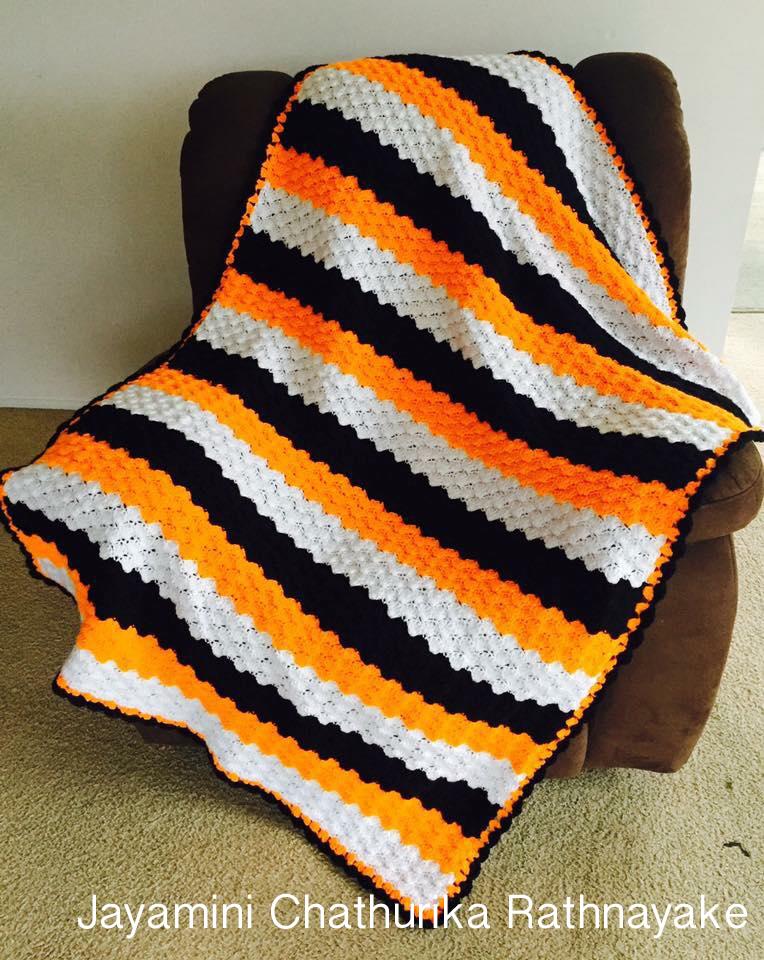 crochet-blanket-orange-color-yarn-wool