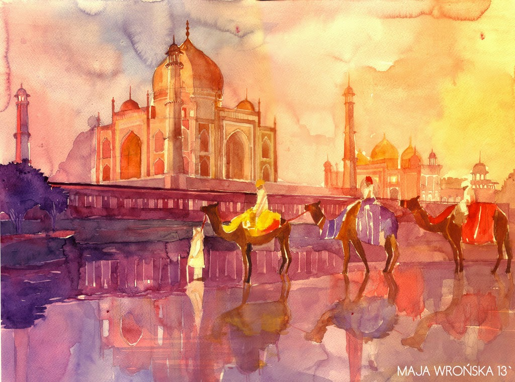 28-Taj-Mahal-Maja-Wronska-Travels-Architecture-Paintings-www-designstack-co