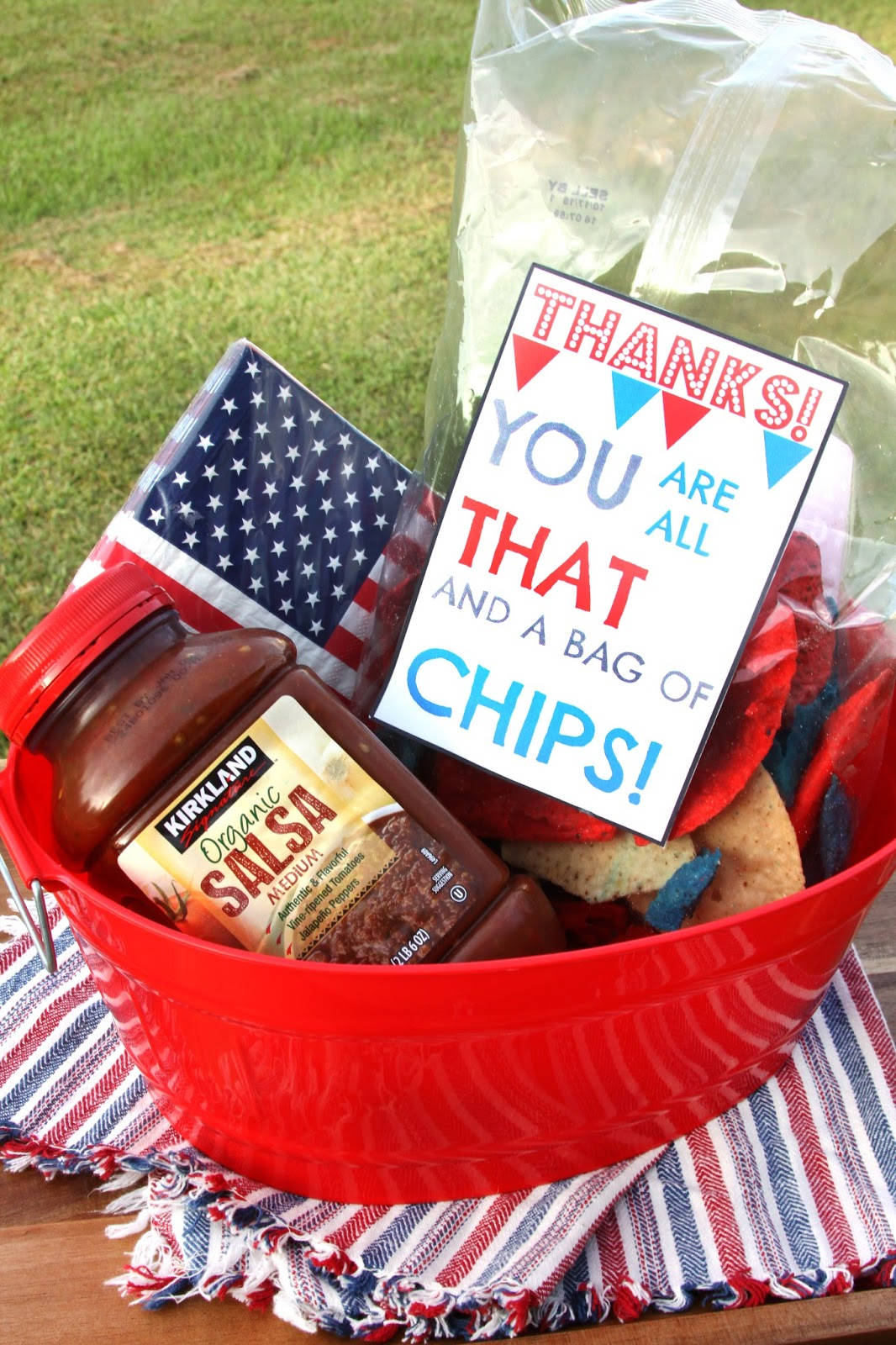 For the love of food chip and dip thank you basket