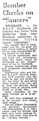 Bomber Checks On Saucers - Australia News Report 7-25-1964
