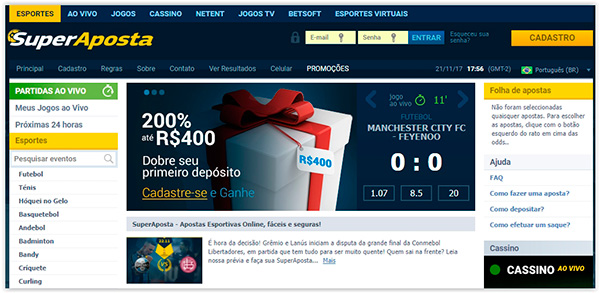 homepage do site de apostas SuperAposta