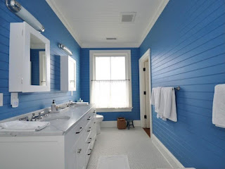 cool blue white kids bathroom paint colour feats marble counter top also pottery area rug design