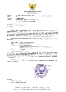 Gubernur Diundang KPK RI Buka Kegiatan Diseminasi  Inovasi Pembelajaran Anti Korupsi