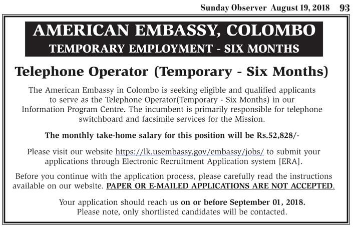 American Embassy, Colombo (Vacancy : Telephone Operator