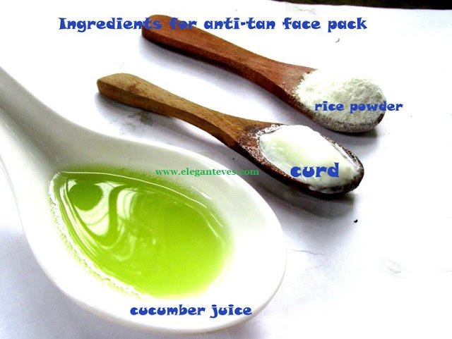 cucumber juice, lemon juice curd anti-tan pack