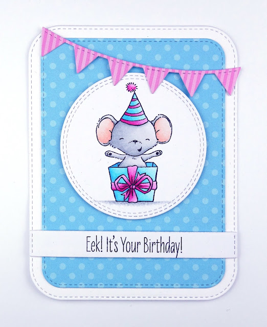 Birthday card with cute mouse in a present box and bunting (stamps are It's a Mice Time to Celebrate by MFT)