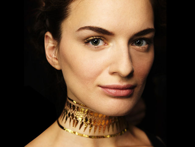 gold leaf choker, gold body art for L'Wren Scott