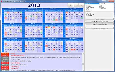 Ultimate Calendar Portable - Calendrier sur Windows