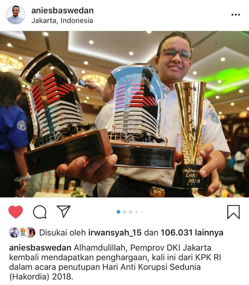 Anies Borong Prestasi dari KPK, Tak Perlu Kata-Kata Kotor untuk Berprestasi Kan?