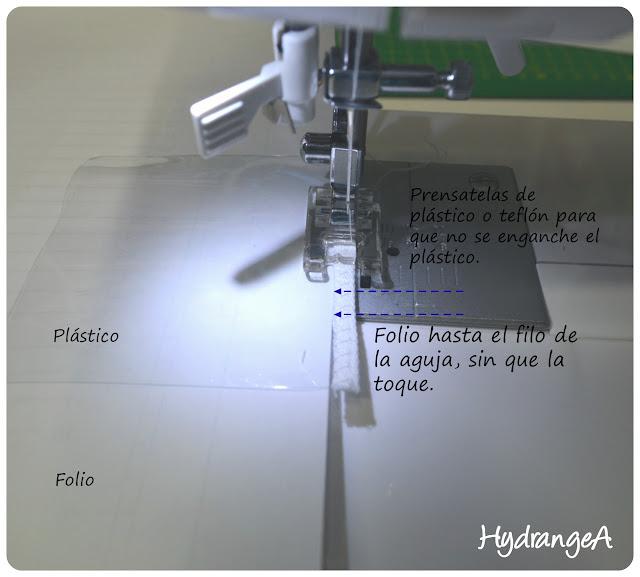 Truco para coser a máquina plástico, utilizar un folio debajo del plástico sin que toque la aguja
