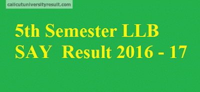 Calicut University 5th Semester LLB Supplementary Result 2016 - 2017