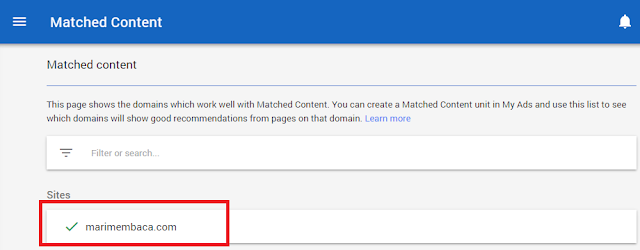 Cara Cek Dan Fungsi Matched Content / Konten Yang Sesuai Di Adsense