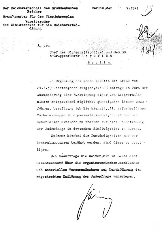 Hermann Goering Final Solution letter to Reinhard Heydrich, 31 July 1941 worldwartwo.filminspector.com
