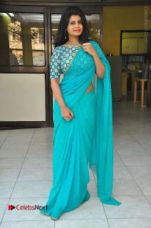 Telugu Actress Alekhya Stills in Green Saree at Swachh Hyderabad Cricket Press Meet  0092.JPG