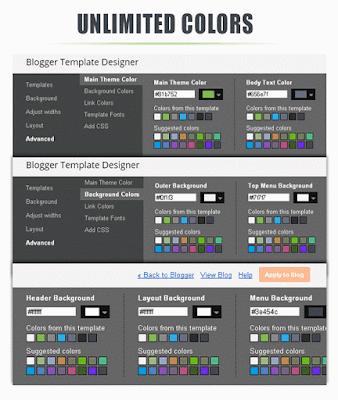 Pilihan warna True Mag Unlimited di desainer template