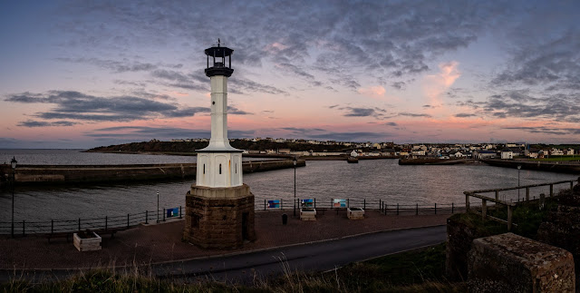 Photo of Maryport's old lighthouse at sunset