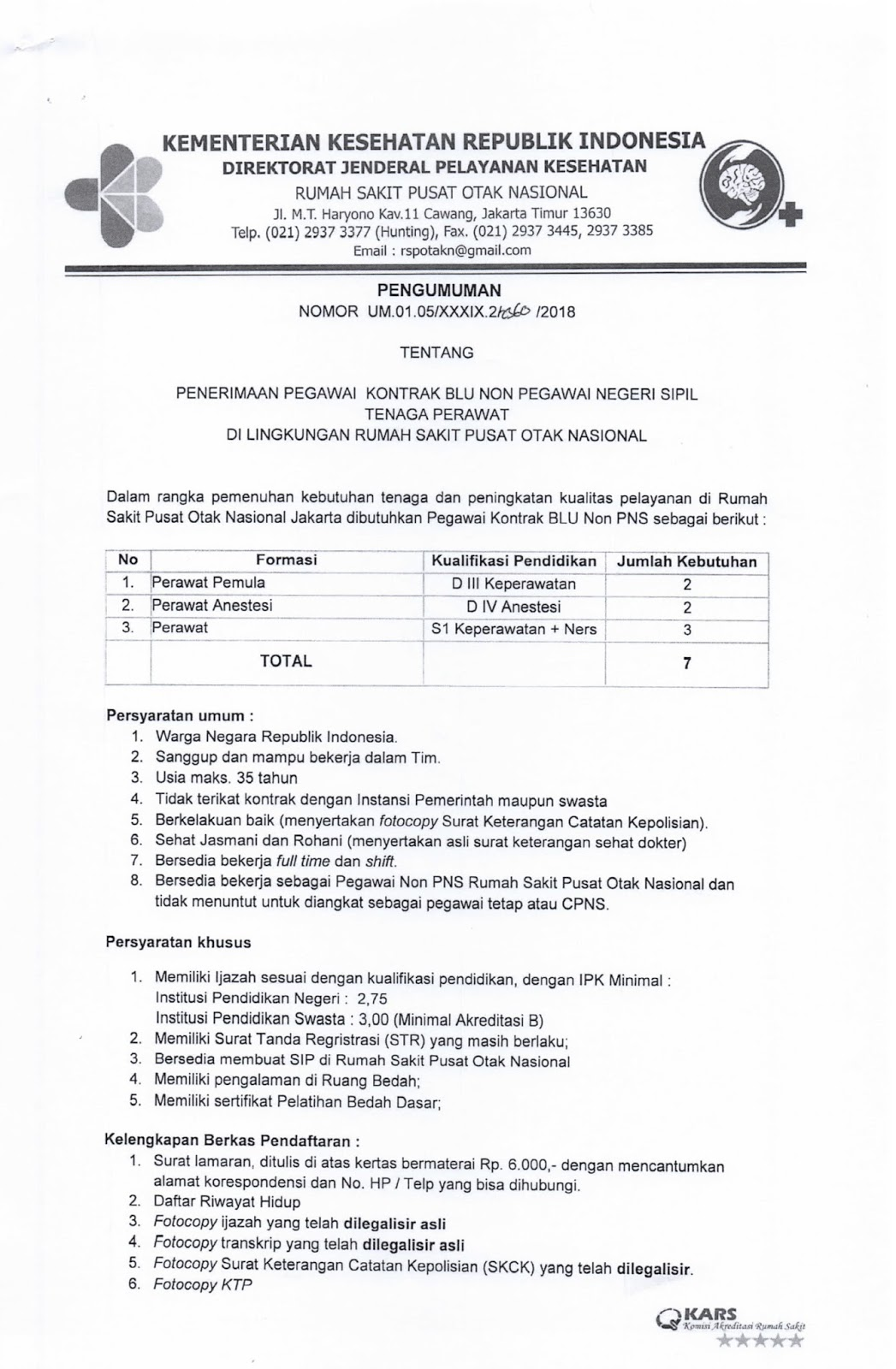 Lowongan Kerja  Penerimaan Non PNS RS Pusat Otak Nasional    Juni 2018