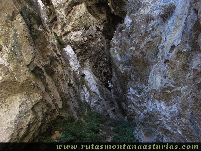 Senda Cartero, Peña Salón y Vibolines: Portilla en la cueva del Sedo