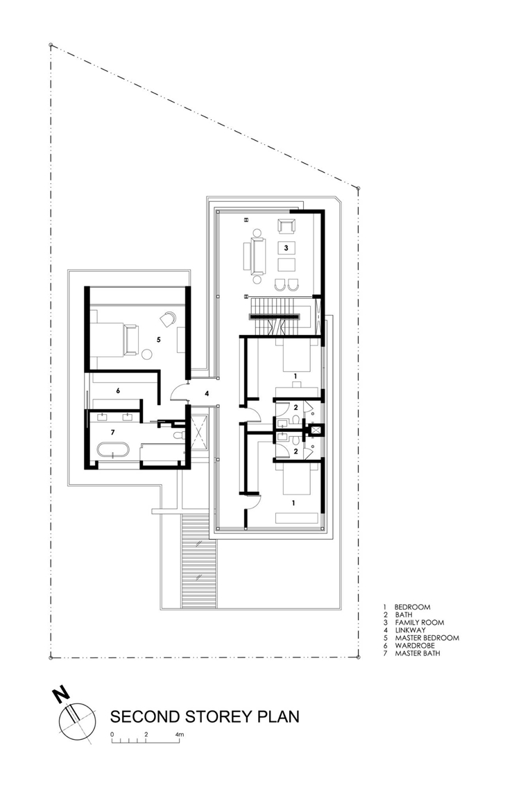 Second floor plan of Travertine Dream House by Wallflower Architecture + Design