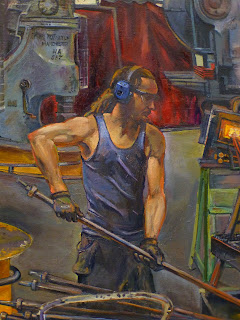 Oil painting of blacksmith in the Australian Technology Park, Eveleigh Railway Workshops painted by industrial heritage artist Jane Bennett