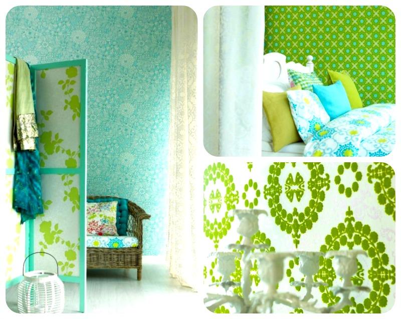 zielono błękitna sypialnia