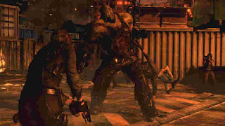 leon fighting boss zombie