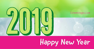 New Year 2019 Greetings live 4k Green pink combination