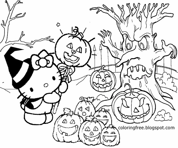 Best Hello Kitty Halloween Coloring Pages Photos
