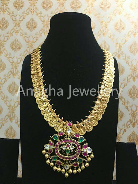 Kasu Mala with Kundan Detachable Pendant