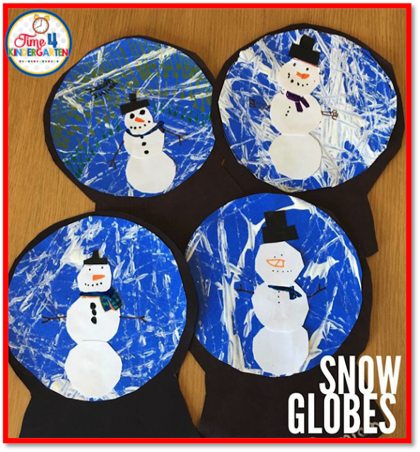 snow globes art craft, Winter art project for kindergarten by Time 4 Kindergarten