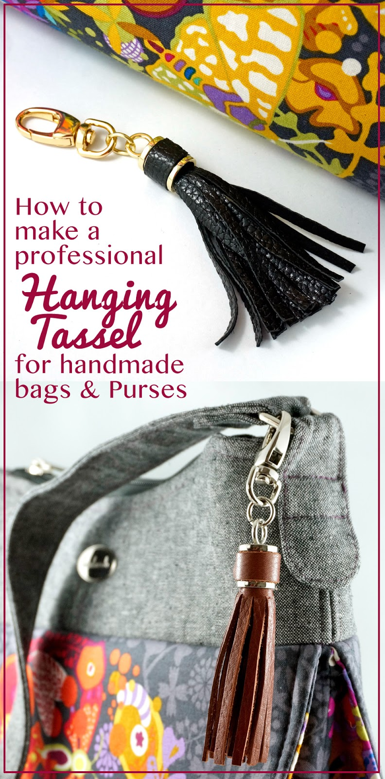 Emmaline Bags Sewing Patterns And Purse Supplies How To Make A Tassel An Easy Bag Making Tutorial