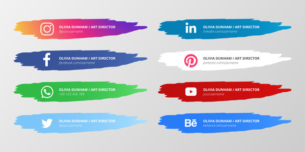 Social media lower third collection with paint splashes Free Vector