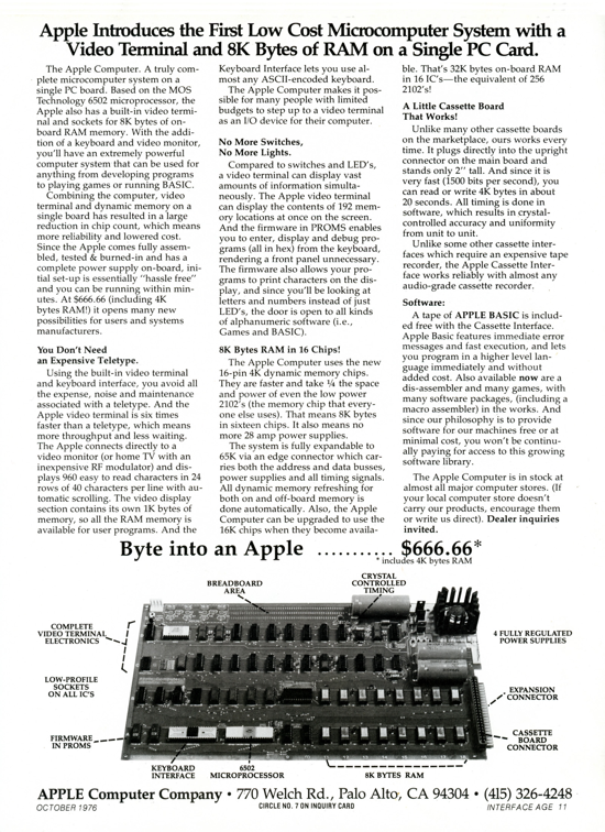 Apple-1 advertising October 1976