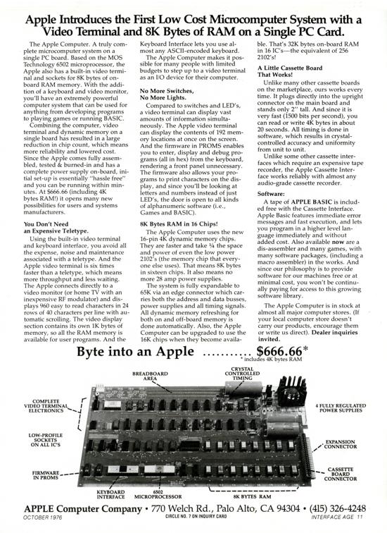 Apple-1 advertising October 1976