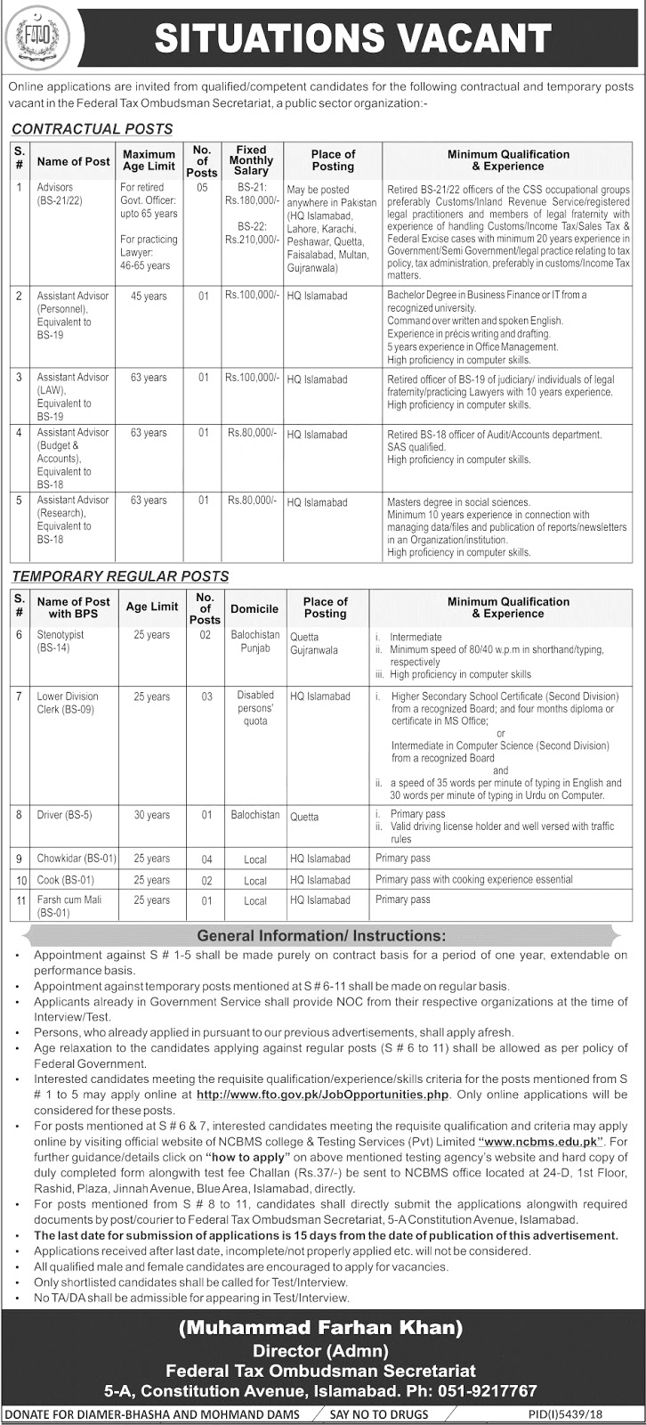 Jobs  in Federal Tax Ombudsman Secretariat Jobs 2019 May
