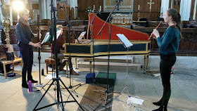 Tabea Debus, Nathaniel Mander & Olwen Foulkes at recording sessions