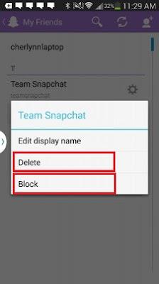 cara mudah menghapus dan blokir teman di snapchat