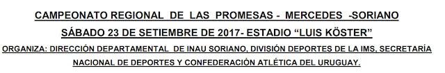 Pista - Campeonato regional de las promesas en Mercedes (Soriano, 23/sep/2017)