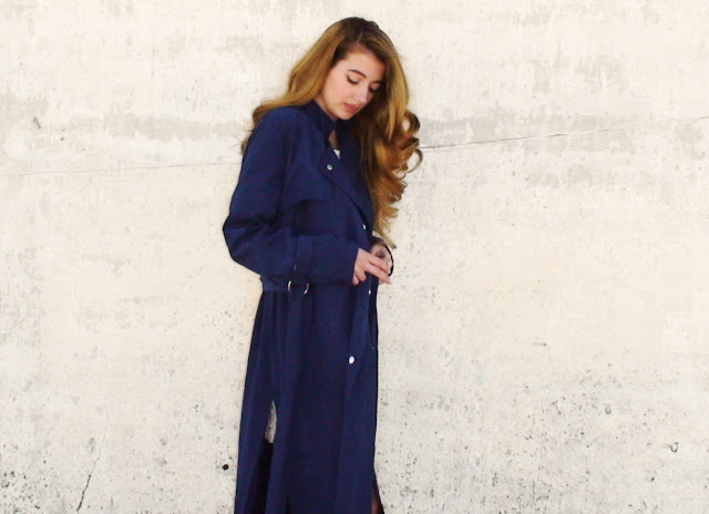 navy blue trench coat outfit